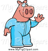 Swine Clipart of a Waving Pig in Blue Footie Pajamas by Cory Thoman