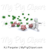 Swine Clipart of a White Character Man and Pigs Running from Green Virus Bacteria by KJ Pargeter