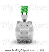 Swine Clipart of a White Piggy Bank with a Green Spiral Bulb on Its Back Facing Forward by Stockillustrations