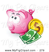 Swine Clipart of a Wide Eyed Pink Piggy Bank with Cash and Coins by Beboy
