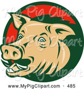 Swine Clipart of a Wild Boar Circular Logo by Patrimonio