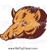 Swine Clipart of a Wild Boar Face by Patrimonio