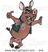 Swine Clipart of a Wild Brown Hog Leaning and Giving the Thumbs up by Dennis Holmes Designs