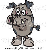 Swine Clipart of a Wild Pig Facing Forward by Dennis Holmes Designs