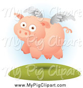 Swine Clipart of a Winged Pig by Qiun