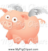 Swine Clipart of a Winged Pig Flying by Qiun