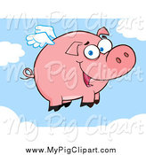 Swine Clipart of a Winged Pig Flying in the Sky by Hit Toon