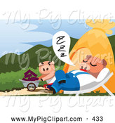 Swine Clipart of a Worker Pig Pushing a Wheelbarrow past a Napping Pig by Mayawizard101