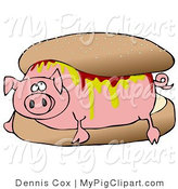 Swine Clipart of a Worried Pig Covered in Mustard and Ketchup, Lying in a Hamburger Bun by Djart