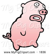 Swine Clipart of a Worried Pink Pig by Lineartestpilot