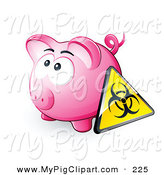 Swine Clipart of a Yellow Biohazard Sign Resting Against a Pink Piggy Bank by Beboy