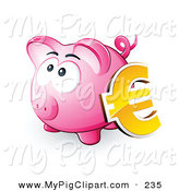 Swine Clipart of a Yellow Euro Symbol Resting Against a Pink Piggy Bank on White by Beboy