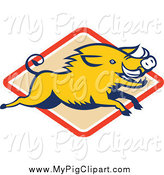 Swine Clipart of a Yellow Razorback Boar Leaping over a Diamond by Patrimonio