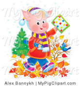 Swine Clipart of a Young Pink Pig School Boy in Clothes, Walking Through Autumn Leaves and Holding a Word Puzzle over a Blue Bird by Alex Bannykh