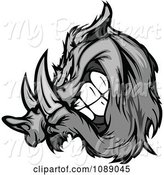 Swine Clipart of Aggressive Grayscale Razorback Boar Mascot by Chromaco