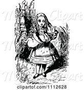Swine Clipart of Alice Carrying a Pig in Wonderland by Prawny Vintage