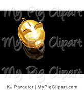 Swine Clipart of an Aerial View of a Gold Piggy Bank with a Coin Slot, on Top of a Reflective Black Surface by KJ Pargeter