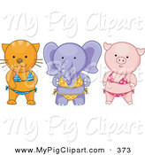 Swine Clipart of an Animal Trio - Cat, Elephant and Pig Wearing Bikinis by BNP Design Studio