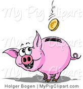 Swine Clipart of an Excited Piggy Bank Watching a Euro Coin Fall into the Slot in Its Back by Holger Bogen