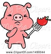Swine Clipart of Angry Pig by Lineartestpilot