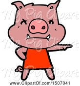 Swine Clipart of Angry Pig in Dress Pointing by Lineartestpilot