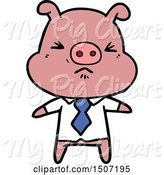 Swine Clipart of Angry Pig in Shirt and Tie by Lineartestpilot