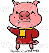 Swine Clipart of Angry Pig in Winter Clothes by Lineartestpilot