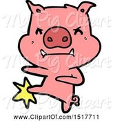 Swine Clipart of Angry Pig Karate Kicking by Lineartestpilot