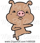 Swine Clipart of Angry Pig Kicking out by Lineartestpilot