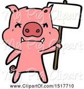 Swine Clipart of Angry Pig Protesting by Lineartestpilot