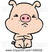 Swine Clipart of Angry Pig Sat Waiting by Lineartestpilot
