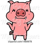 Swine Clipart of Angry Pig Shrugging Shoulders by Lineartestpilot