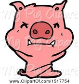 Swine Clipart of Angry Pig Throwing Tantrum by Lineartestpilot