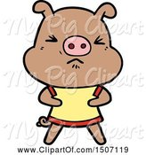 Swine Clipart of Angry Pig Wearing Tee Shirt by Lineartestpilot