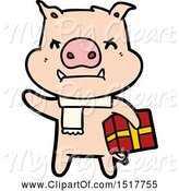 Swine Clipart of Angry Pig with Christmas Gift by Lineartestpilot