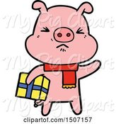 Swine Clipart of Angry Pig with Christmas Present by Lineartestpilot