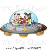 Swine Clipart of Animals Flying a Ufo by Graphics RF