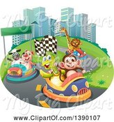 Swine Clipart of Animals on a Race Track by Graphics RF