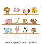 Swine Clipart of Animals on Shelves by Graphics RF