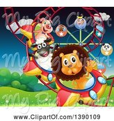 Swine Clipart of Animals Riding a Roller Coaster by Graphics RF