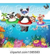 Swine Clipart of Animals Swimming over a Reef by Graphics RF