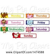 Swine Clipart of Animals with Days of the Week by Graphics RF
