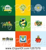 Swine Clipart of Banking and Finance Icons on Colorful Tiles by Elena
