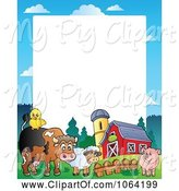 Swine Clipart of Barnyard Animal Frame 1 by Visekart