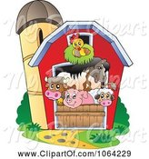 Swine Clipart of Barnyard Animals in a Barn by Visekart
