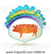 Swine Clipart of Barnyard Pig in a Frame with a Rainbow and Dew Drops by Merlinul