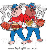 Swine Clipart of Bbq Pigs with Ribs Pulled Pork Burgers and Poultry on Plates by LaffToon