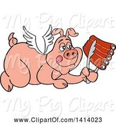 Swine Clipart of Bbq Winged Angel Pig Flying and Holding Spare Ribs in Tongs by LaffToon
