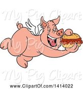 Swine Clipart of Bbq Winged Pig Flying and Eating a Pulled Pork Sandwich by LaffToon