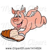 Swine Clipart of Bbq Winged Pig Flying and Holding out a Brisket by LaffToon